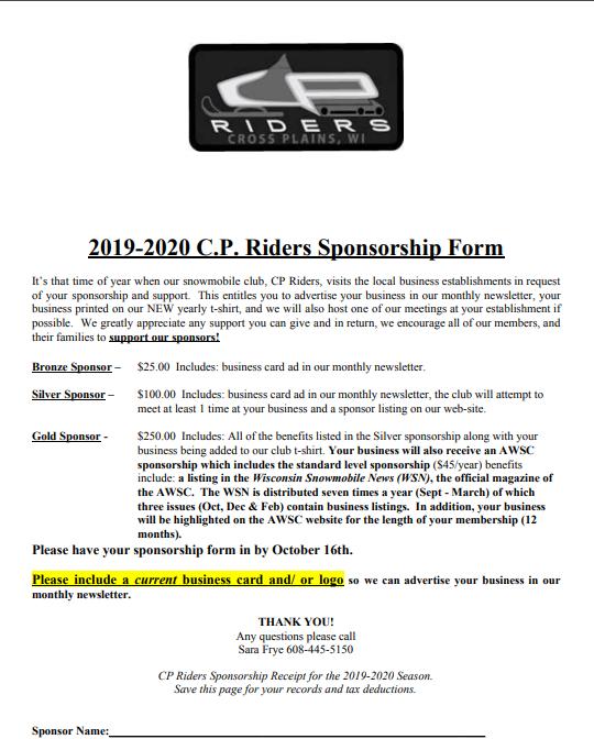 CPRiders - Sponsorship Form 2019